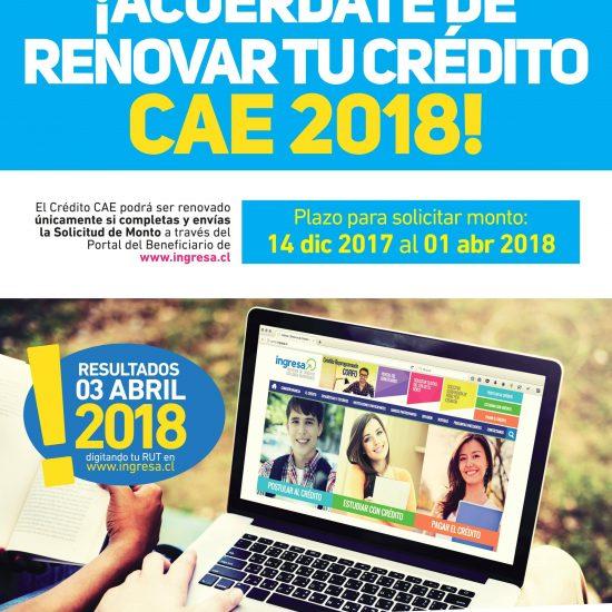 ¡YA COMENZÓ LA RENOVACIÓN 2018 DEL CRÉDITO CAE!